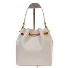 На фото 3 - Женская сумка-торба белого цвета из эко-кожи 68065
