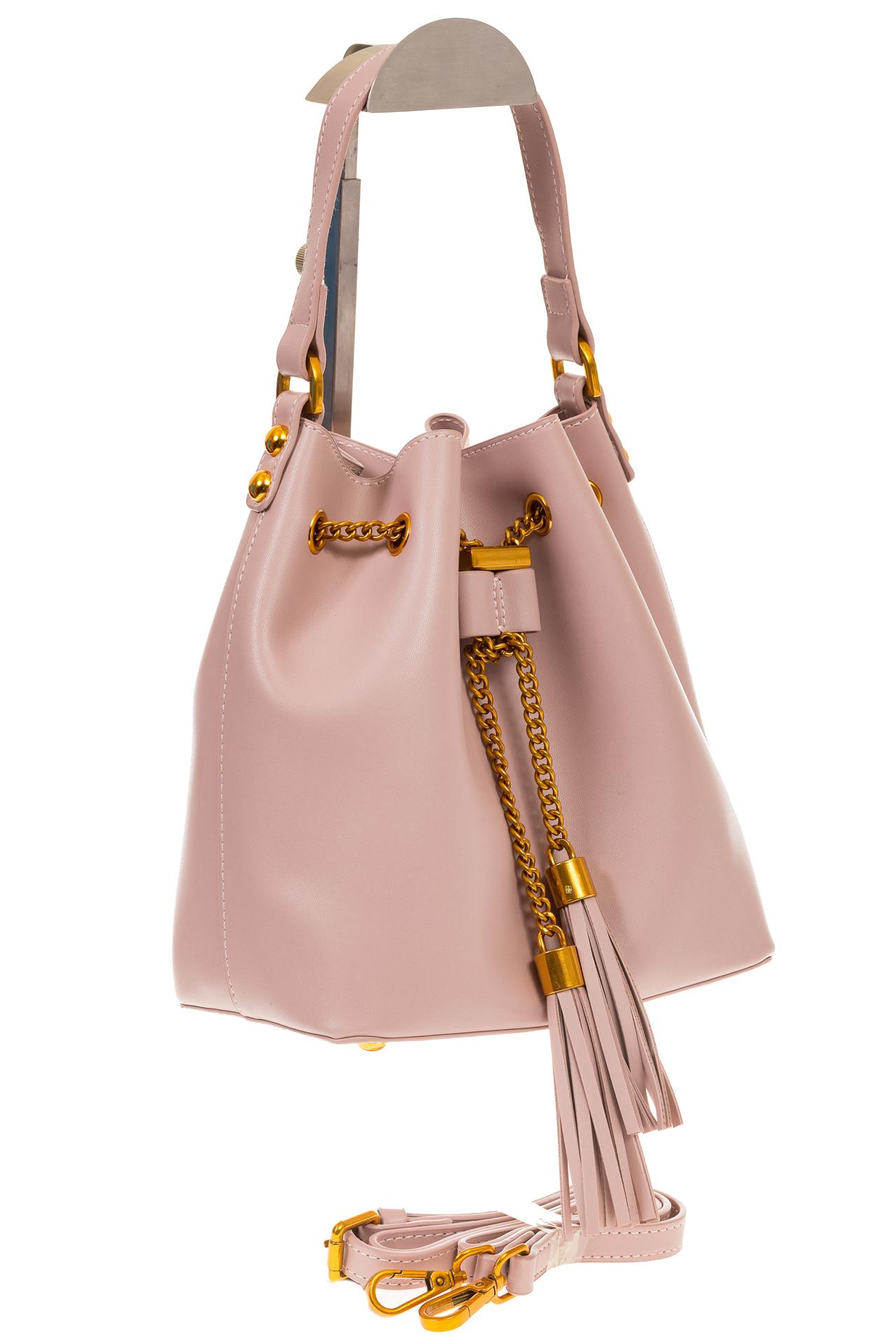 На фото 1 - Женская сумка-торба розового цвета из эко-кожи 68065