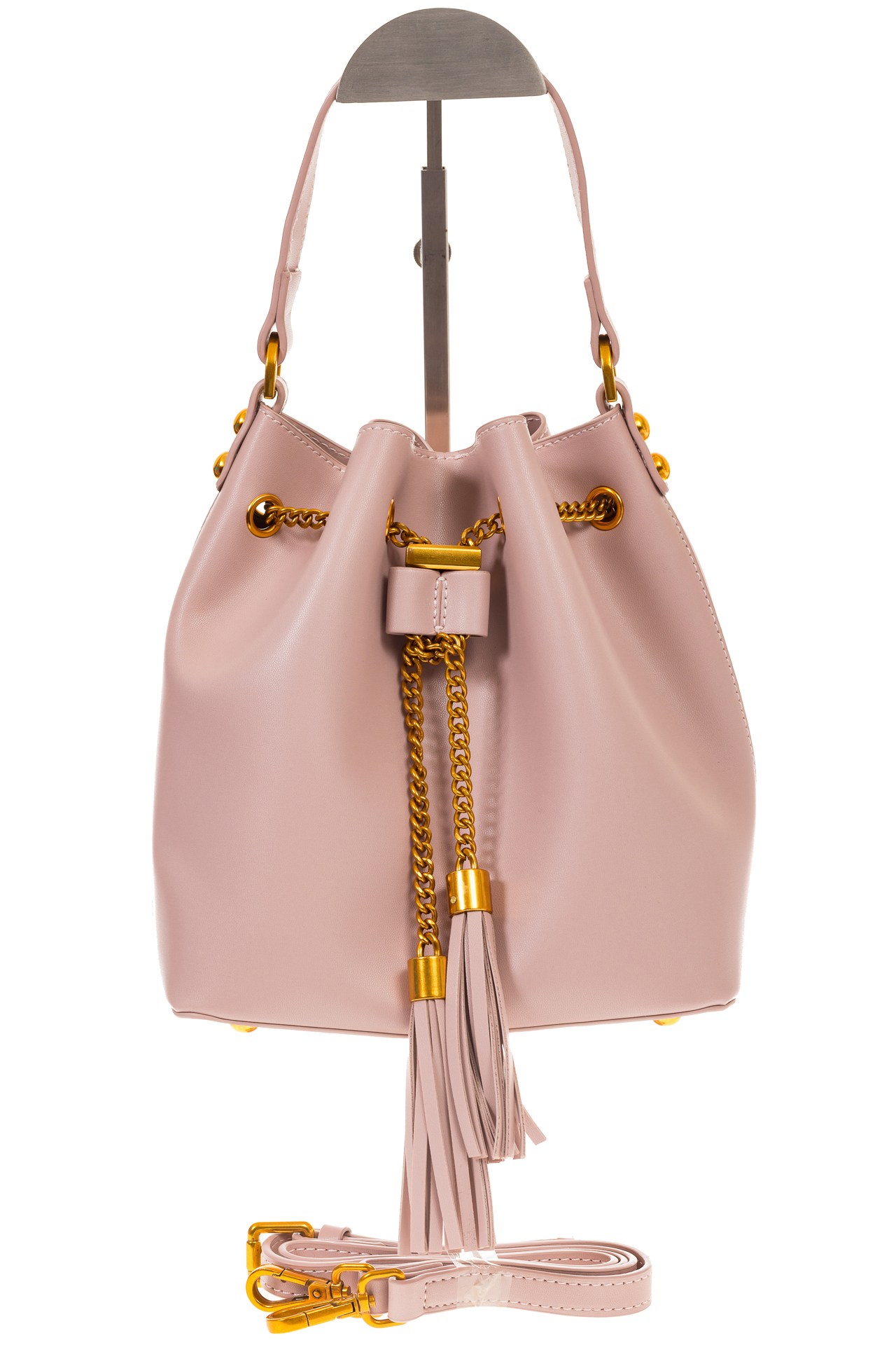 На фото 2 - Женская сумка-торба розового цвета из эко-кожи 68065