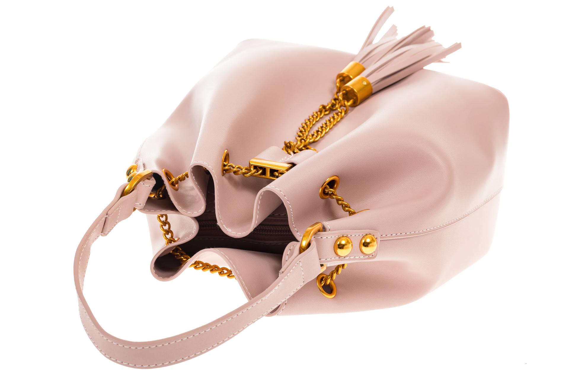 На фото 4 - Женская сумка-торба розового цвета из эко-кожи 68065