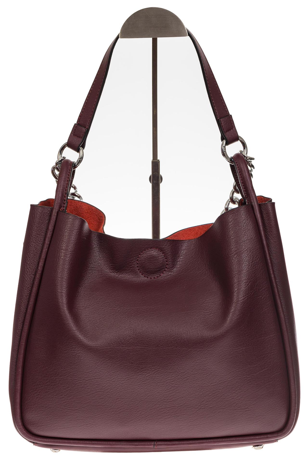 На фото 3 - Мягкий шоппер бордового цвета из натуральной кожи