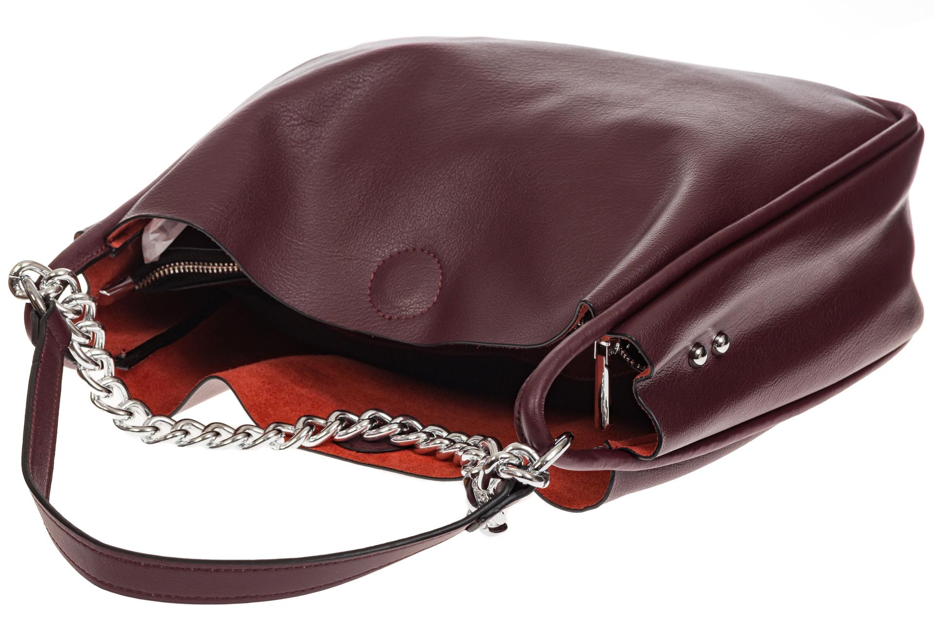 На фото 4 - Мягкий шоппер бордового цвета из натуральной кожи