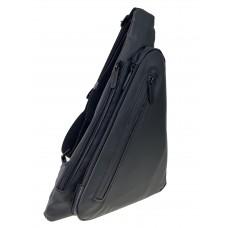 На фото 1 - Молодёжная нагрудная сумка из текстиля, цвет чёрный