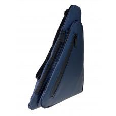 На фото 1 - Молодёжная нагрудная сумка из текстиля, цвет тёмно-синий