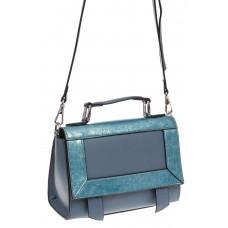 На фото 1 - Классическая сумка из натуральной кожи, цвет серо-голубой