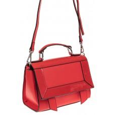 На фото 1 - Классическая сумка из натуральной кожи, цвет красный