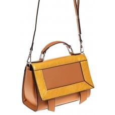 На фото 1 - Классическая сумка из натуральной кожи, цвет желтый
