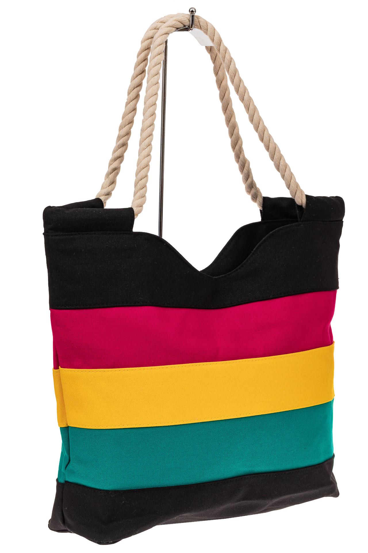 На фото 1 - Пляжная сумка-шоппер с ручками из каната, цвет черный