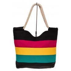 На фото 2 - Пляжная сумка-шоппер с ручками из каната, цвет черный
