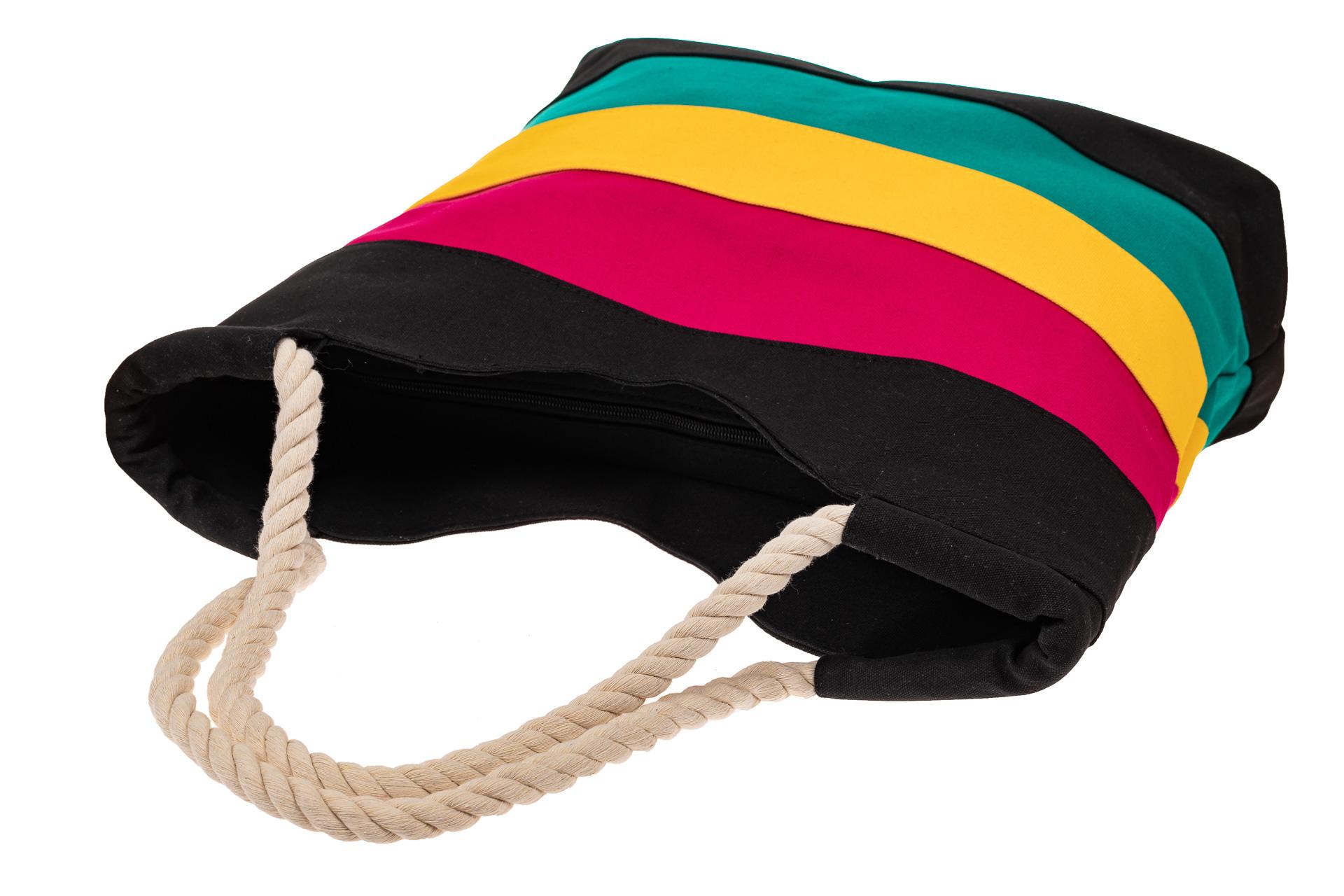 На фото 3 - Пляжная сумка-шоппер с ручками из каната, цвет черный