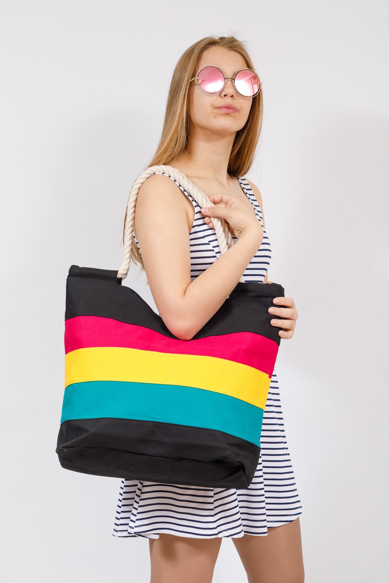 На фото 4 - Пляжная сумка-шоппер с ручками из каната, цвет черный
