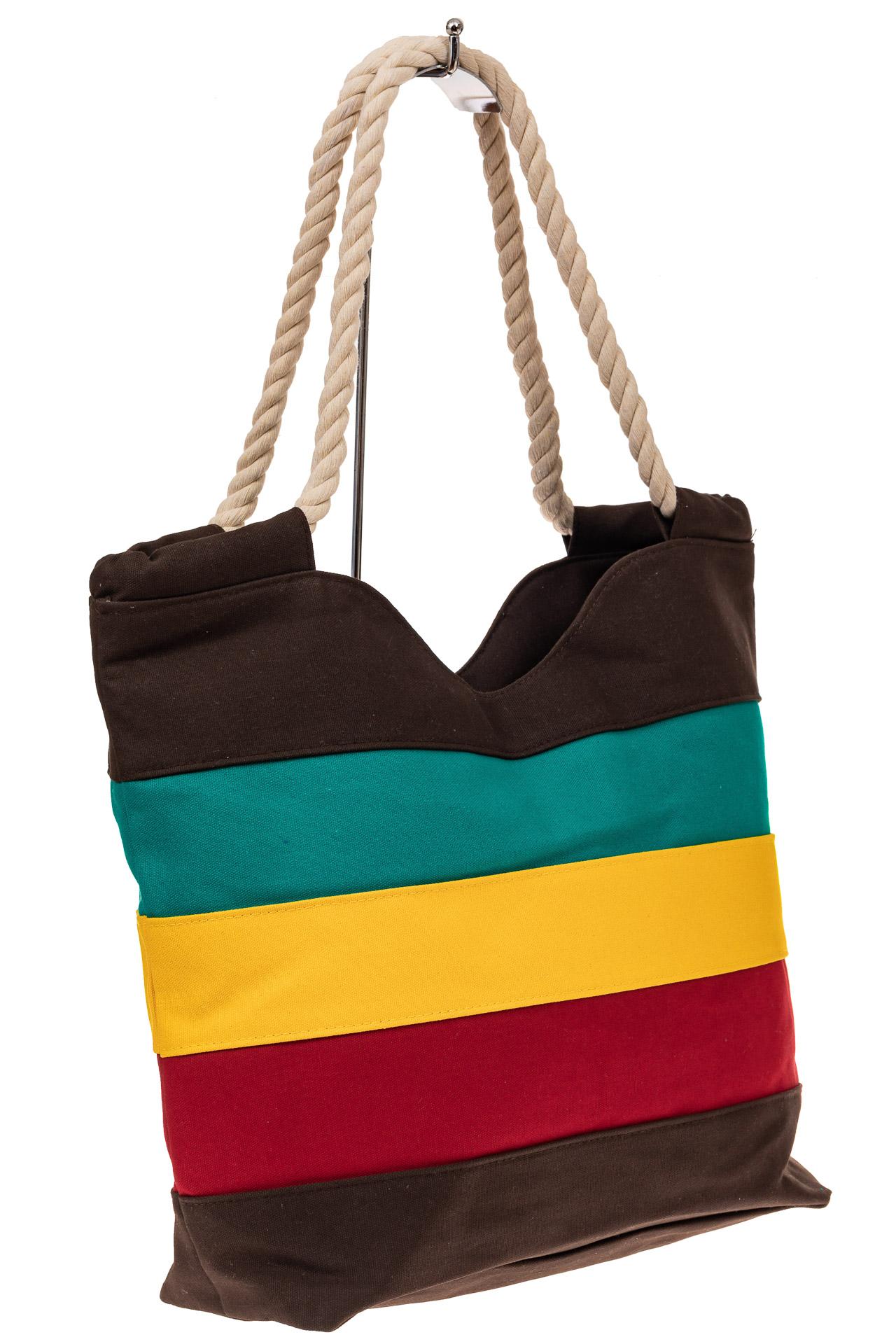 На фото 1 - Пляжная сумка-шоппер с ручками из каната, цвет коричневый