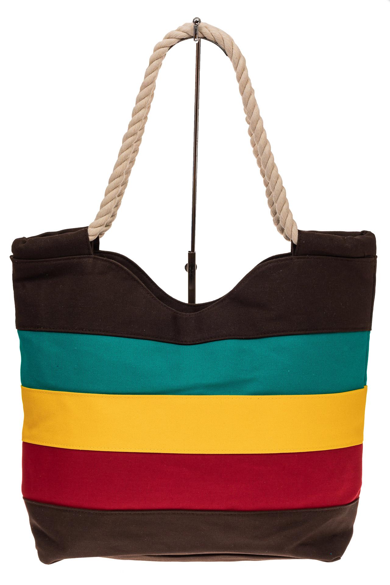 На фото 2 - Пляжная сумка-шоппер с ручками из каната, цвет коричневый
