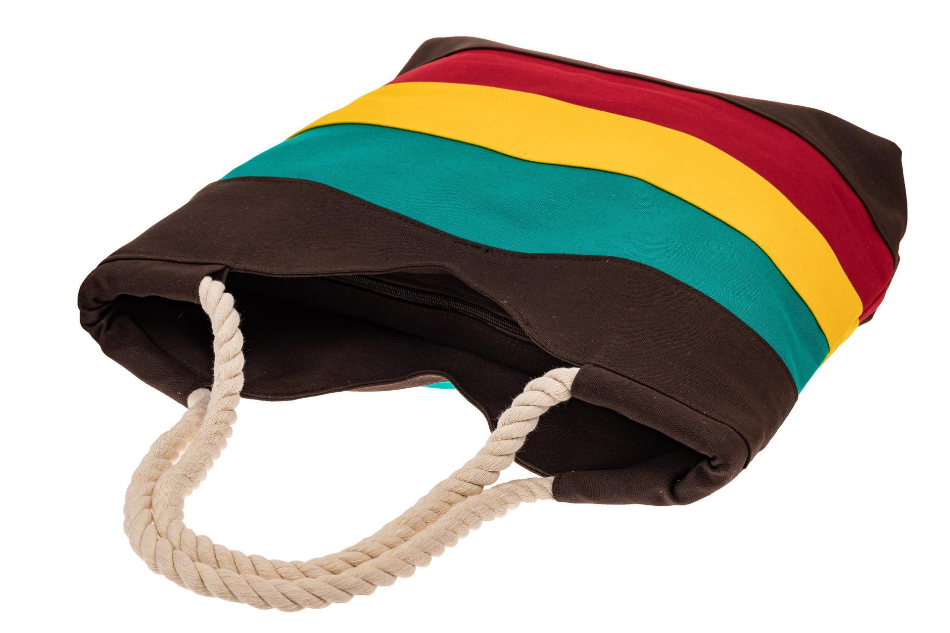 На фото 3 - Пляжная сумка-шоппер с ручками из каната, цвет коричневый