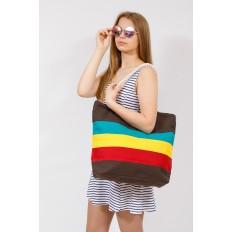 На фото 4 - Пляжная сумка-шоппер с ручками из каната, цвет коричневый