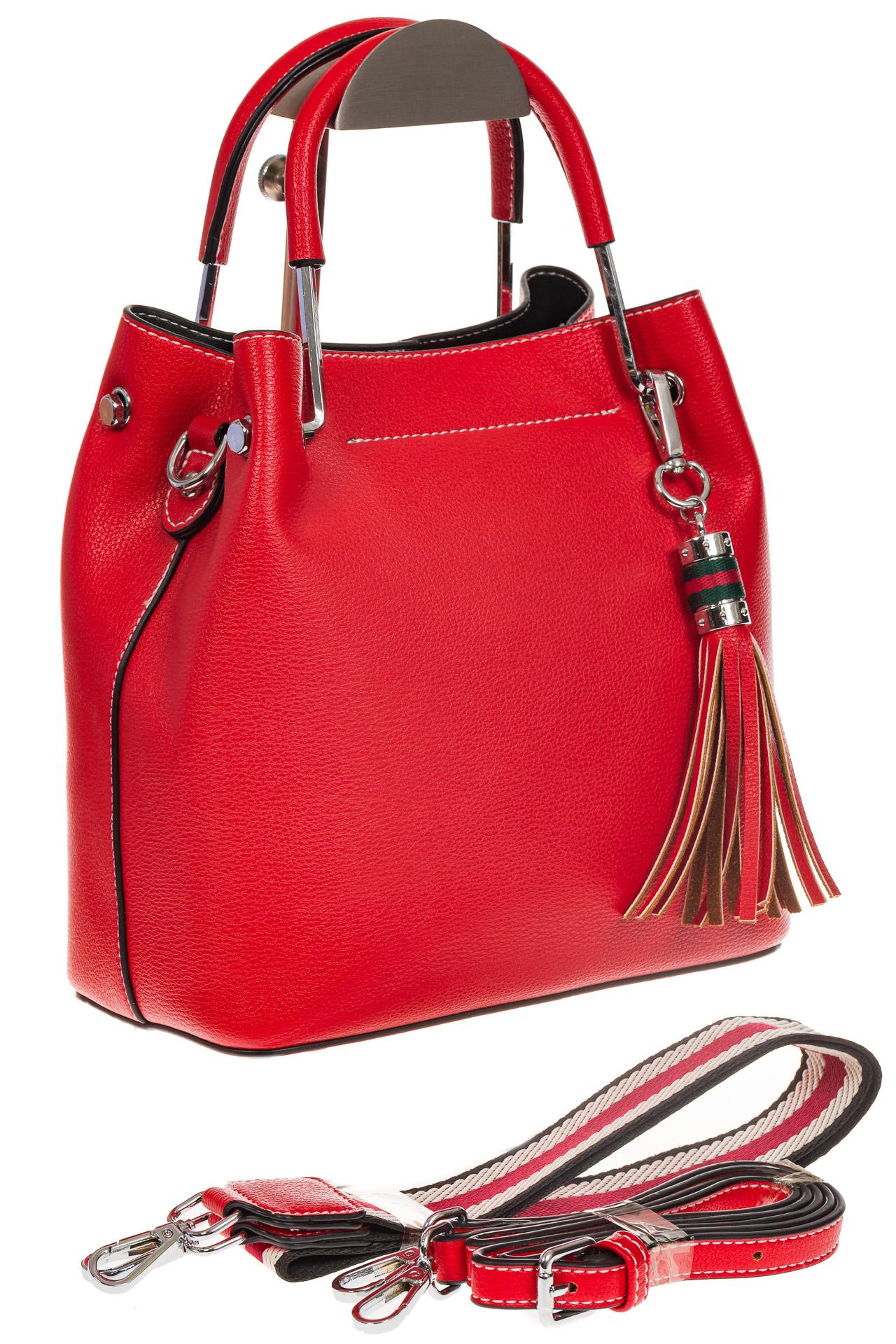 На фото 1 - Женская красная сумка тоут из искусственной кожи