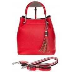 На фото 2 - Женская красная сумка тоут из искусственной кожи