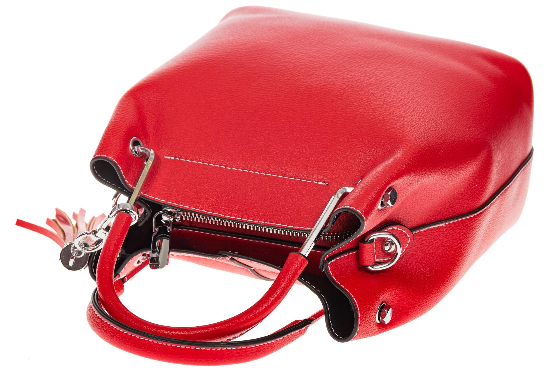 На фото 4 - Женская красная сумка тоут из искусственной кожи