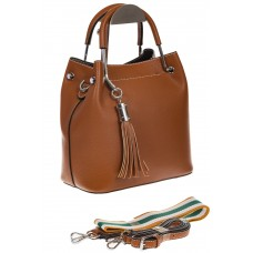 На фото 1 - Женская коричневая сумка тоут из искусственной кожи