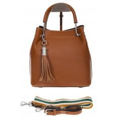 На фото 2 - Женская коричневая сумка тоут из искусственной кожи