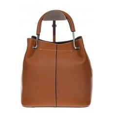На фото 3 - Женская коричневая сумка тоут из искусственной кожи