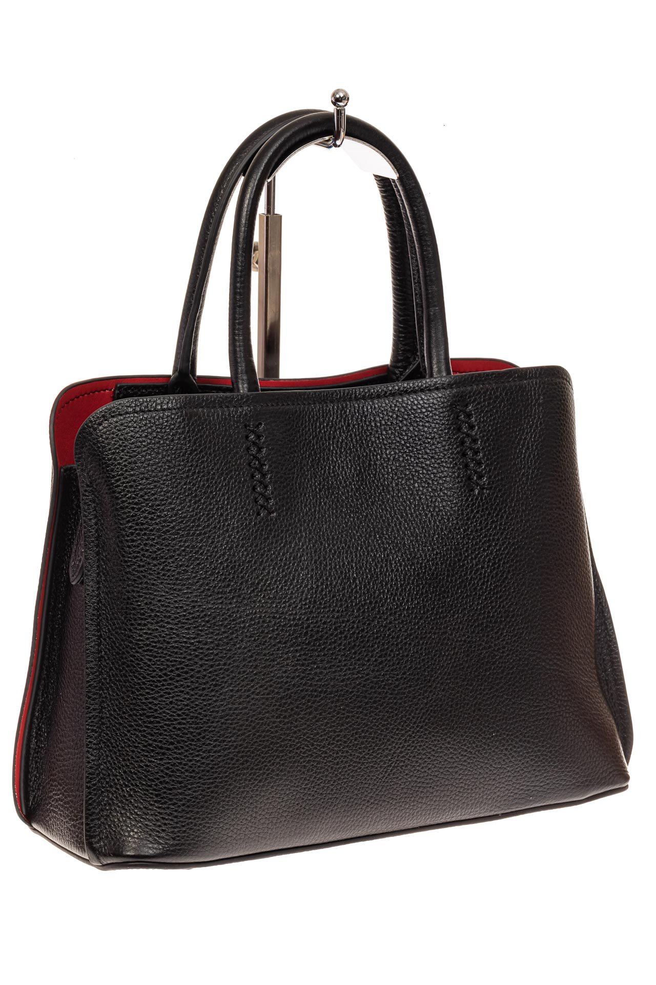На фото 1 - Строгая женская сумка из натуральной кожи, цвет черный