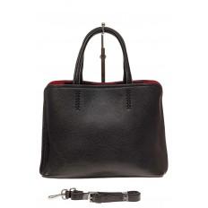 На фото 2 - Строгая женская сумка из натуральной кожи, цвет черный