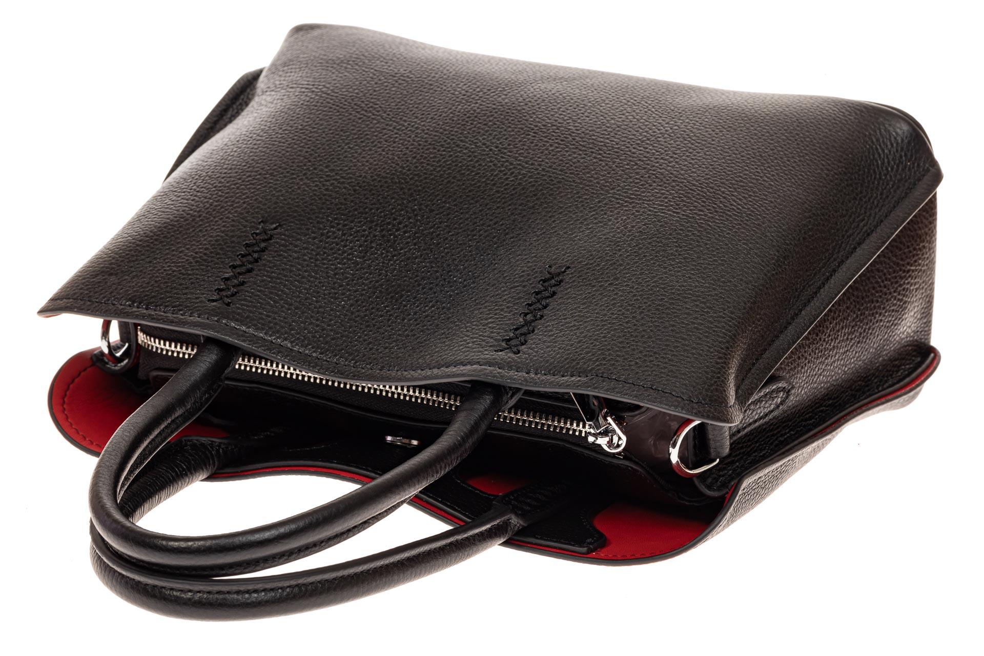 На фото 3 - Строгая женская сумка из натуральной кожи, цвет черный