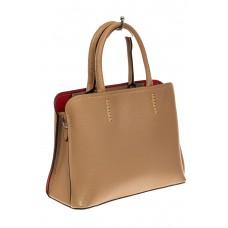 На фото 1 - Строгая женская сумка из натуральной кожи, цвет бежевый