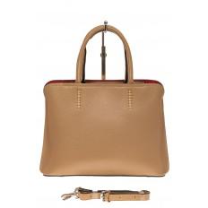 На фото 2 - Строгая женская сумка из натуральной кожи, цвет бежевый
