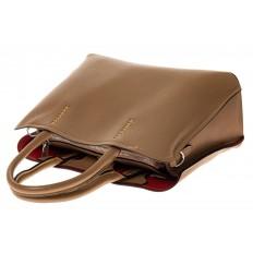 На фото 3 - Строгая женская сумка из натуральной кожи, цвет бежевый