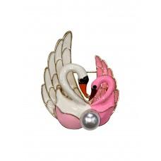 На фото 1 - Эмалированная брошь в форме пары лебедей с жемчугом