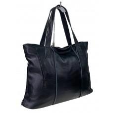 На фото 1 - Женский шоппер из мягкой натуральной кожи, цвет чёрный