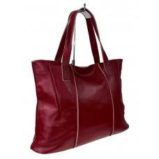 На фото 1 - Женский шоппер из мягкой натуральной кожи, цвет бордо