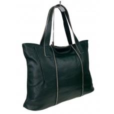 На фото 1 - Женский шоппер из мягкой натуральной кожи, цвет тёмно-зелёный
