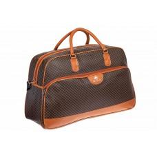 На фото 1 - Дорожная сумка из искусственной кожи, цвет шоколадный с принтом
