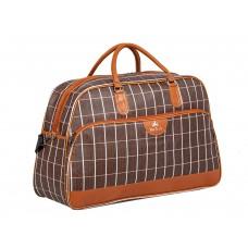 На фото 1 - Дорожная сумка из искусственной кожи, цвет коричневый в клетку