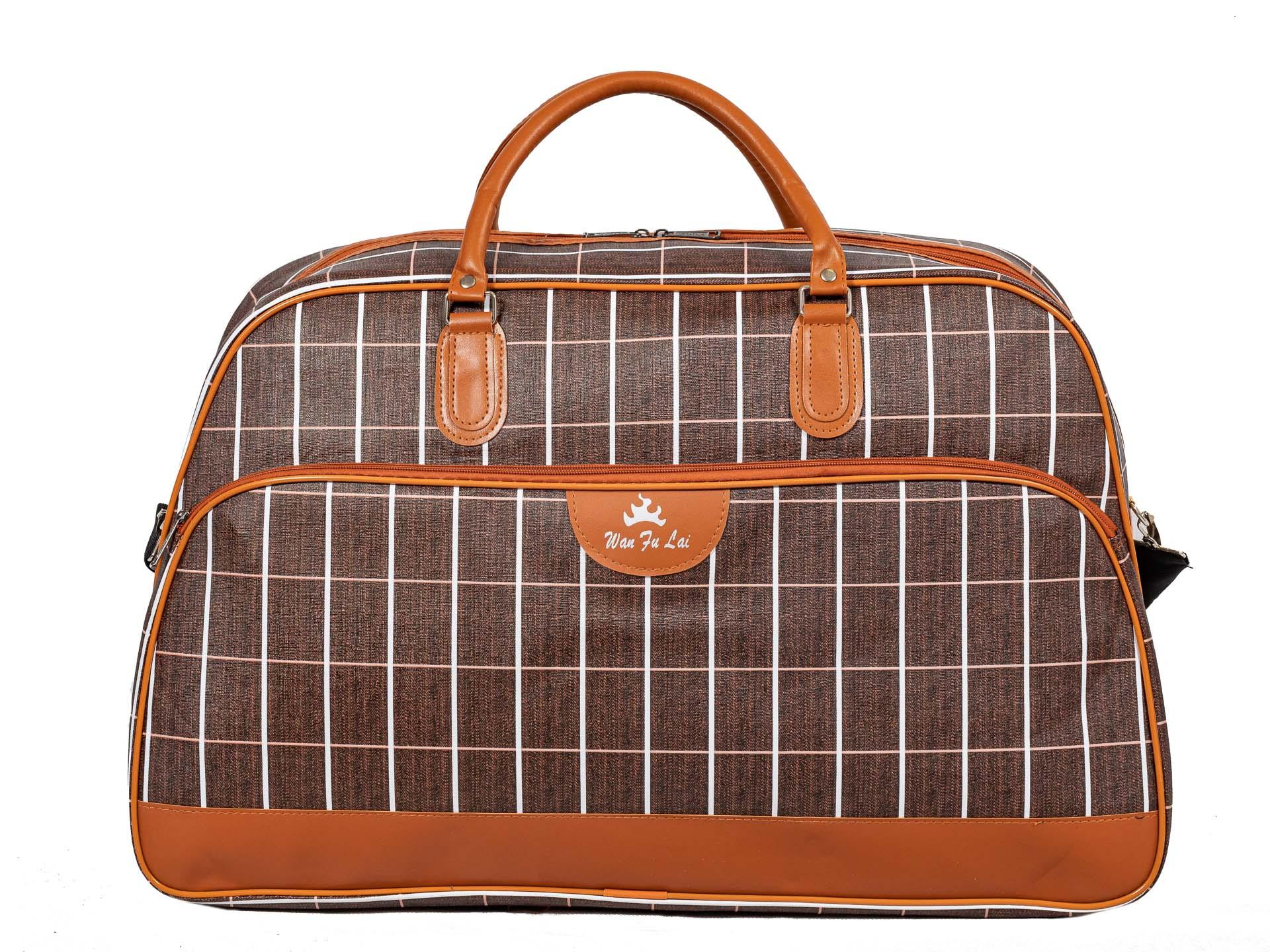 На фото 2 - Дорожная сумка из искусственной кожи, цвет коричневый в клетку
