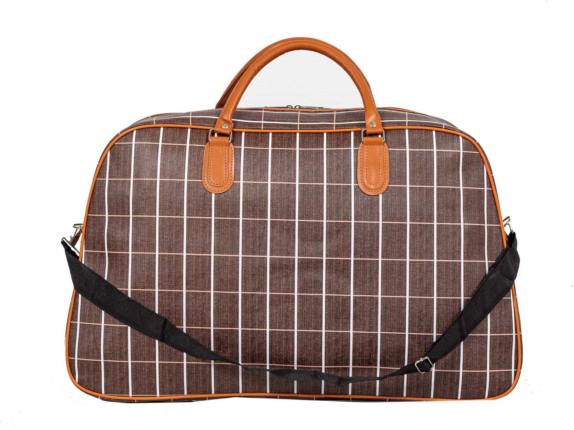 На фото 3 - Дорожная сумка из искусственной кожи, цвет коричневый в клетку