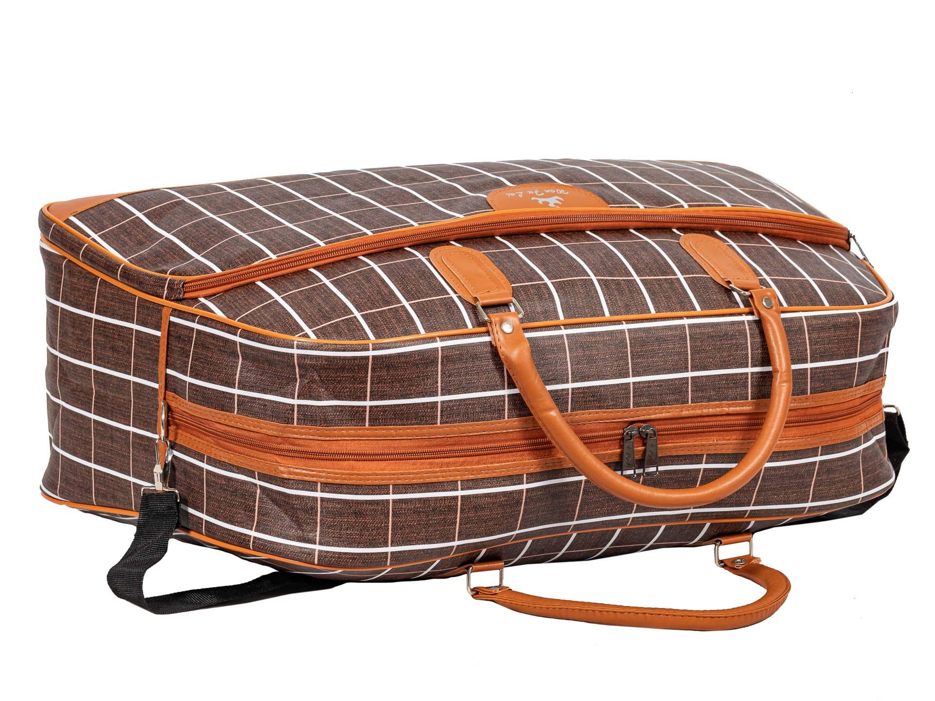 На фото 4 - Дорожная сумка из искусственной кожи, цвет коричневый в клетку