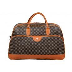 На фото 2 - Дорожная сумка из искусственной кожи, цвет коричневый с принтом