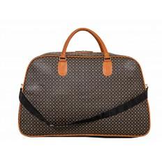 На фото 3 - Дорожная сумка из искусственной кожи, цвет коричневый с принтом