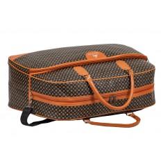 На фото 4 - Дорожная сумка из искусственной кожи, цвет коричневый с принтом