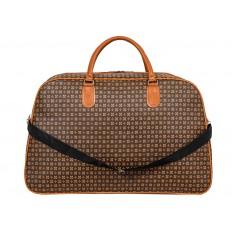 На фото 3 - Дорожная сумка из искусственной кожи, цвет коричневый, принт цветочный