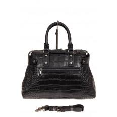 На фото 2 - Классическая женская сумка из натуральной кожи, цвет черный