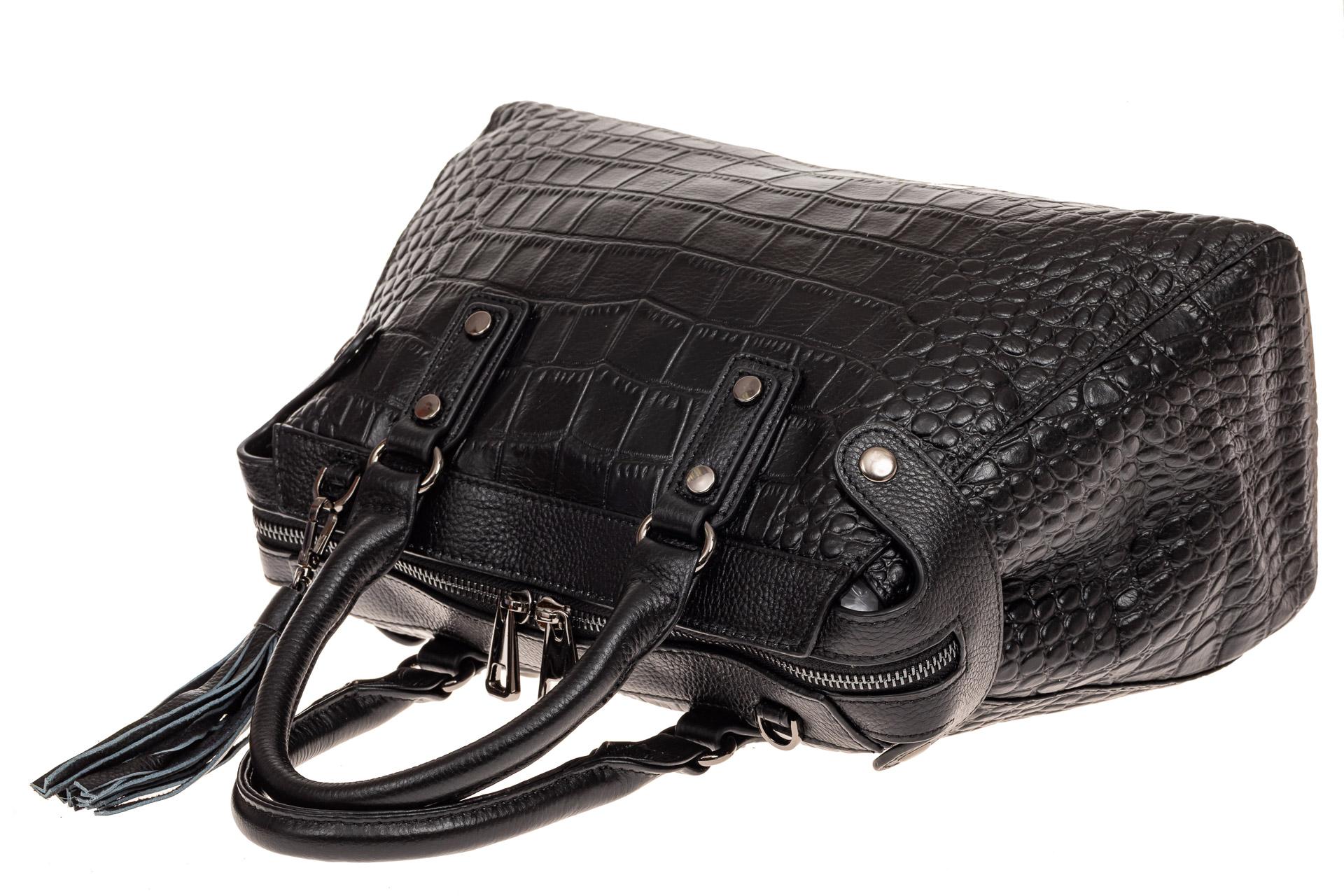 На фото 3 - Классическая женская сумка из натуральной кожи, цвет черный