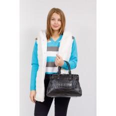 На фото 4 - Классическая женская сумка из натуральной кожи, цвет черный