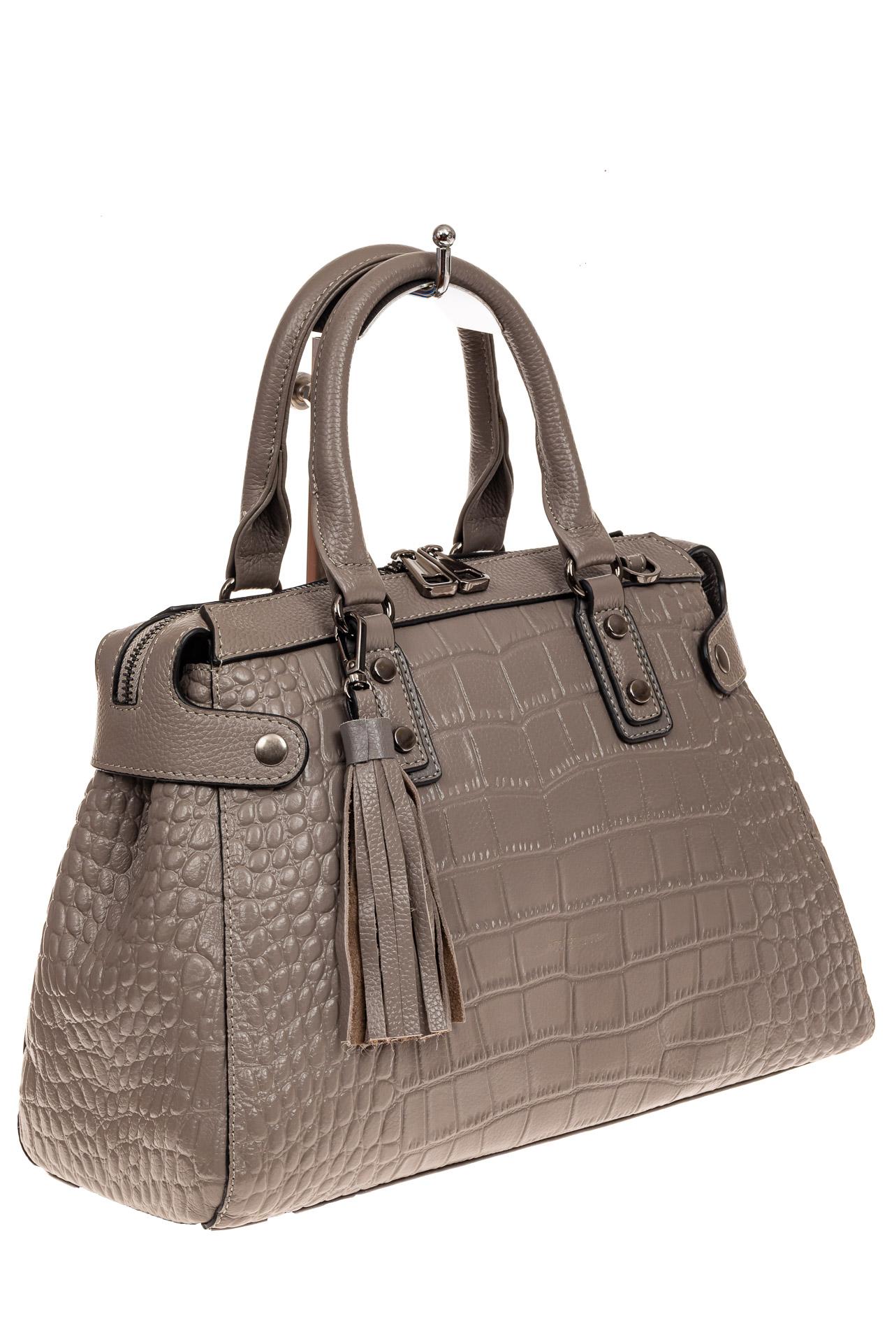 На фото 1 - Классическая женская сумка из натуральной кожи, цвет серый