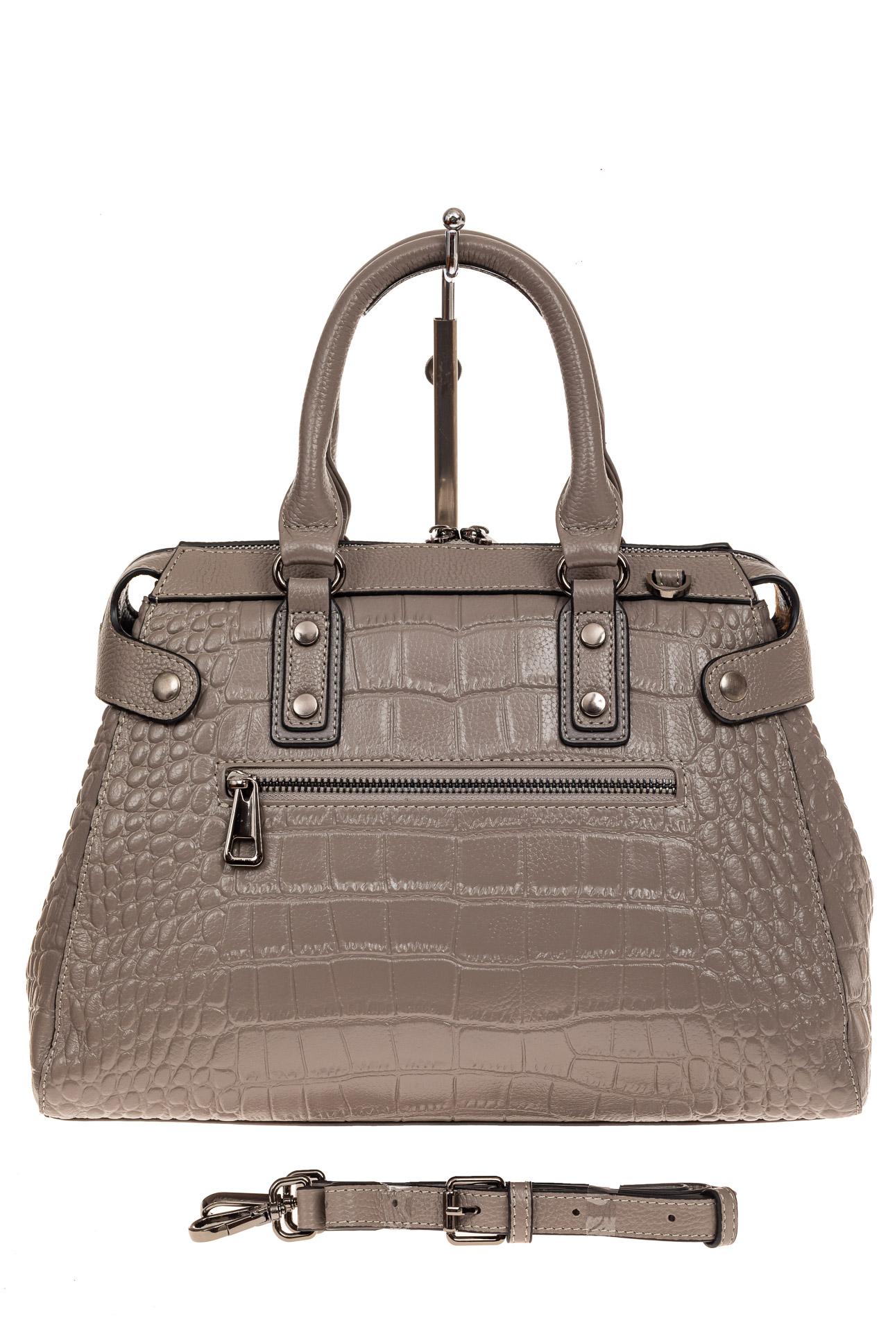 На фото 2 - Классическая женская сумка из натуральной кожи, цвет серый