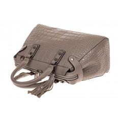 На фото 3 - Классическая женская сумка из натуральной кожи, цвет серый